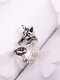 Vintage Animals-Shape Women Ring Cute Cat Eat Fish Ring Jewelry Gift - #03