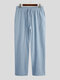 Solid Color Breathable Cotton Linen Bottoms Drawstring Cozy Daily Loose Lounge Pants for Men - Blue