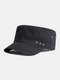 Men Cotton Solid Color Five-pointed Star Metal Label Casual Sunshade Military Cap Flat Hat - Black