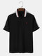 Mens 100% Cotton Colorblock Stitching Letter Embroidery Short Sleeve Golf Shirt - Black