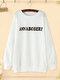 Letter Bear Print Crew Neck Plus Size Pullover Sweatshirt - White