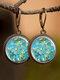 Vintage Glass Gemstone Dangle Earrings plant Flower Pattern Women Pendant Earrings Jewelry - #01
