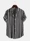 Mens Black Stripe Print Button Up Short Sleeve Lapel Casual Shirt - Black