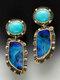 Vintage Water Drop Shape Women Earrings Symmetry Turquoise Pendant Earrings - Gold
