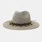 Men And Women British Wind Jazz Straw Hat Outdoor Sunscreen Breathable Big Brim Sun Hat - Gray