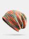 Strisce di colore arcobaleno misto lana donna Modello Plus Cappello lavorato a maglia con berretto in velluto spesso caldo - arancia