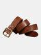 Men Genuine Leather Pure Copper Pin Buckle Belt Solid Color Retro Adjustable Belt - Brown