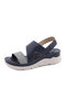 Women Daily Stitching Slingback Hook Loop Wedges Sandals - Blue