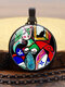 Alloy Glass Vintage Figure Pattern Painting Printed Long Necklace For Women - Black