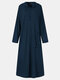 Women Solid Color Pocket Button Long Sleeve Hooded Casual Dress - Navy