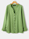 Solid Color Ruffle Button Drawstring Long Sleeve Casual Blouse for Women - Green