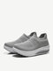 Women Knitted Fabric Comfy Breathable Casual Slip On Fashion Rocker Sole Casaul Sock Sneakers - Gray