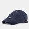 Vintage Casual Literary Beret Caps Breathable Flat Caps - Blue
