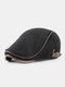 Men Knitted Patchwork Autumn Winter Casual Warmth Beret Flat Cap - Black