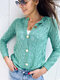 Vintage Hollowed Solid Color Button Knit Cardigan For Women - Green