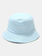 Unisex Cotton Letter Pattern Embroidery Solid Color Simple Bucket Hat - Light Blue
