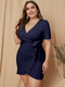 Solid Color V-neck Knotted Plus Size Ruffle Dress for Women - Navy