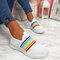 Plus Size Women Rainbow Stripe Knitted Breathable Casual Walking Shoes - White