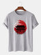 Mens Japanese Architecture Graphic 100% Cotton Short Sleeve T-Shirts - Gray