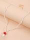 Bohemian Beads Mushroom Colgante Collar Collar de cuentas de temperamento - Blanco