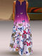 Butterfly Printed Ombre Patchwork V-neck Maxi Dress - Purple