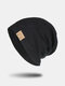 Unisex Knitted Solid Color Letter Rivet Leather Label Warmth Casual Beanie Hat - Black