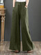 Casual Loose Drawstring Plus Size Wide Leg Pants - Green