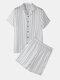 Summer Lounge Minimalist Striped Homewear Sets Lightweight Button Short Sleeve Outfits - Grey