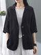 Однотонная повседневная куртка с отложным воротником и рукавами 3/4 с карманами - Черный