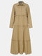 Solid Color Button Pleated Long Sleeve Casual Dress for Women - Khaki