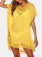 女性の中空Vネック薄い日焼け止めドレスビーチカバーアップ - 黄