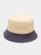 Unisex Cotton Patchwork Color-block Letter Embroidery Fashion Sunshade Bucket Hat - #05