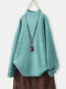 Long Sleeve Cotton Casual Sweater For Women - Green