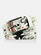 Men PU 110CM Skull Pattern Fashion Cool Pin Buckle Pants Belt - White