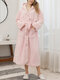 Women Solid Color Fleece Thicken Double Plush Belted Button Up Warm Loose Hooded Home Robes - Pink