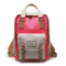 Women Canvas Casual Patchwork Large Capacity Backpack - Red