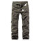 Mens Cotton Solid Multi-pocket Casual Cargo Pants - Green