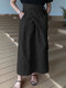 Casual Solid Color Pockets Knotted High Waist Cotton Skirt - Black