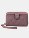 Women Multifunction Removable Card Case Quilting 6.5 Inch Phone Bag Wallet - Purple