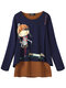 Cartoon Print Long Sleeve Crew Neck Women Blouse