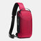 Men Oxford USB Charging Multi-Layers Waterproof Outdoor Crossbody Bag Chest Bag Sling Bag - Red