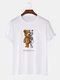 Mens 100% Cotton Bear Graphics Short Sleeve T-Shirt - White