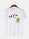 100% Cotton Mens Funny Beer Friday Figure Pattern Short Sleeve T-Shirt - White