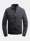 Mens Solid Color Stand Collar Zipper Up Casual Fit Long Sleeve Down Jackets - Black