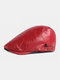 पुरुषों अशुद्ध चमड़े रेट्रो ठोस रंग ब्रिटिश शैली फॉरवर्ड टोपी बेरेट टोपी - लाल