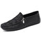 Men Retro Microfiber Leather Side Zipper Stitching Casual Driving Shoes - Black