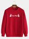 Mens Cotton Slogan Printed Plain Casual Crew Neck Pullover Sweatshirts - Red
