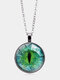 Vintage Alloy Glass Printed Women Necklaces Green Cat Eye Pendant Sweater Chain - Silver