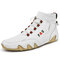 Men Slip Resistant Octopus Sole Leather Ankle Boots - White