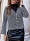 Plaid Print Pearl Button Long Sleeve Casual Coat for Women - Black